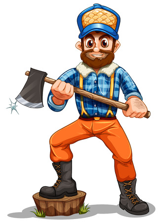 cut grass: Illustration of a lumberjack stepping on a stump on a white background