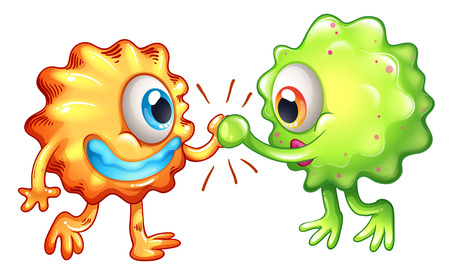cooperating: Illustration of the two monsters showing teamwork on a white background Illustration