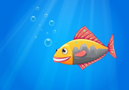Illustration of a smiling fish in the ocean Stock Vector - 22210971