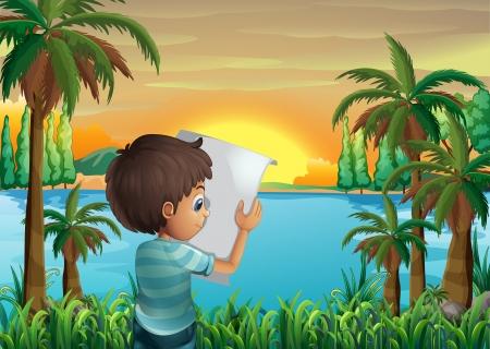 강둑: 강둑에서 종이 소년의 그림