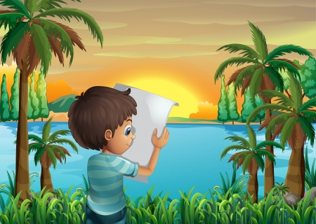 riverbank: Illustration of a boy with a paper at the riverbank