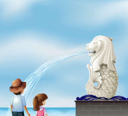 Illustration of the two kids near the statue of Merlion Vector
