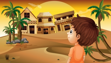 Illustration of a boy at the desert standing in front of the wooden houses Vector
