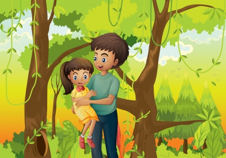 Illustration of a forest with a father carrying his daughter Vector