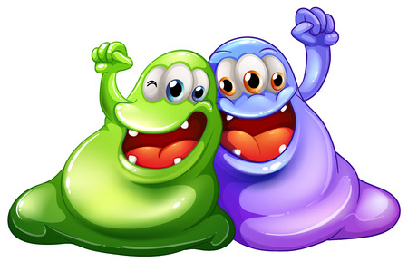 Illustration of the two happy monsters on a white background Vector
