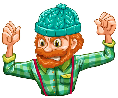 Illustration of an angry lumberjack on a white background Vector