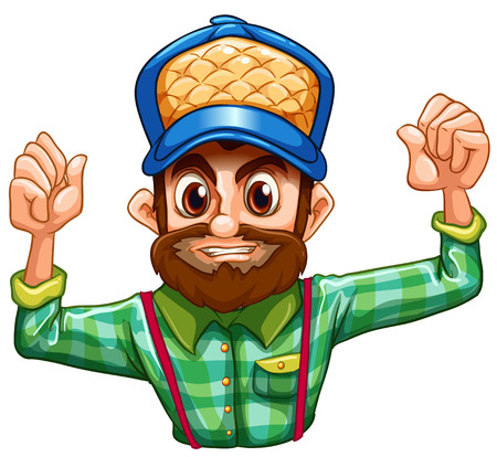 Illustration of a lumberjack wearing a checkered longsleeve on a white background Vector