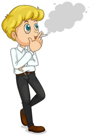 man smoking: Ilustraci�n de un hombre de negocios de fumar sobre un fondo blanco Vectores