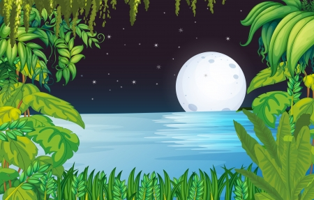 meteorites: Illustration of a lake in the forest under the bright fullmoon