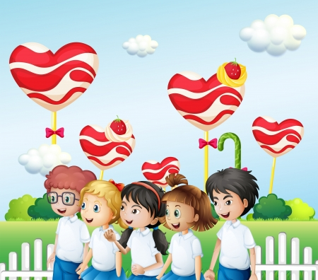 strawberry plant: Illustration of the five students at the candyland Illustration