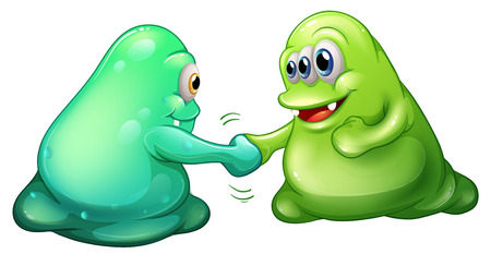 sportsmanship: Illustration of a teamwork of monsters on a white background