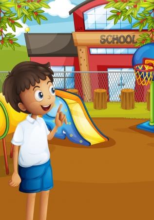 ni�os jugando en la escuela: Ilustraci�n de un estudiante feliz en el patio de la escuela