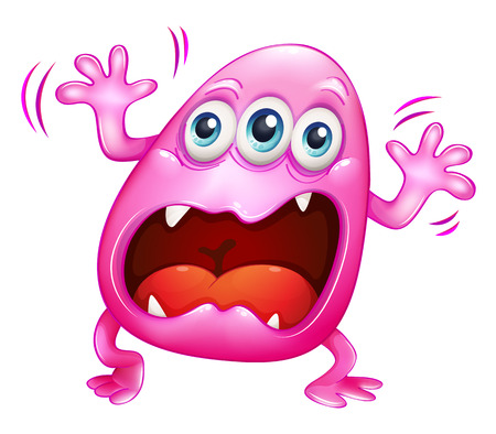 beanie: Illustration of a pink monster shouting because of frustration on a white background