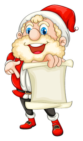 Illustration of Santa holding a paper scroll on a white background Vector
