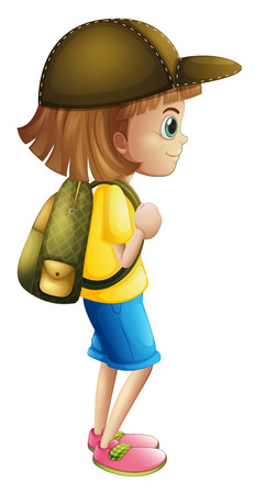 alone person: Illustration of a young girl ready for hiking on a white background Illustration