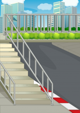 concrete stairs: Illustration of a highway at the road