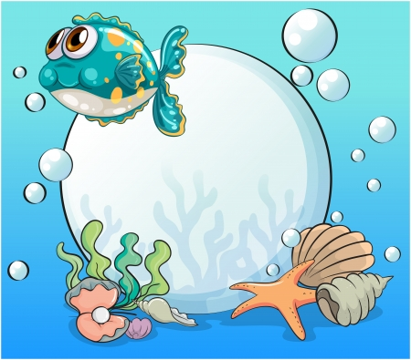 Illustration of the sea creatures under the sea Stock Vector - 22404591