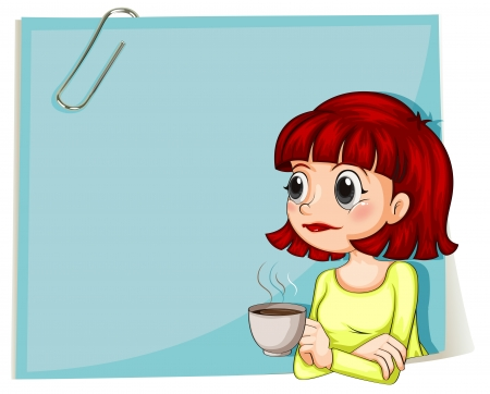 clip: Illustration of a woman with a cup of coffee with an empty paper at the back on a white background