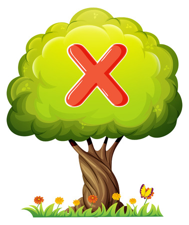 Illustration of a tree with a letter X on a white background Vector