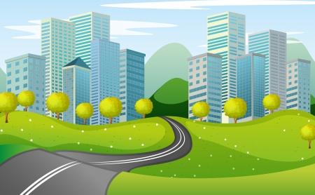 市内の狭い道路のイラスト  イラスト・ベクター素材
