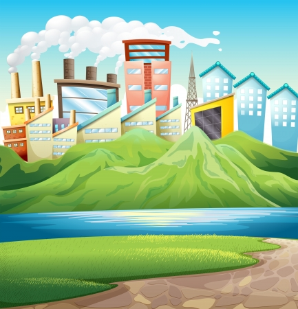 tall grass: Illustration of the green mountains near the river and the buildings