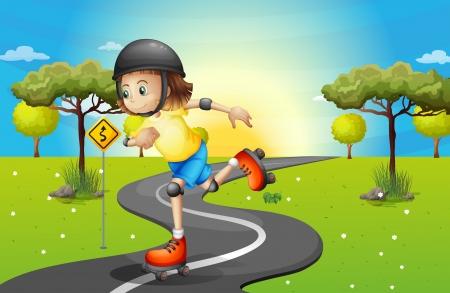little skate: Illustration of a girl rollerskating at the street