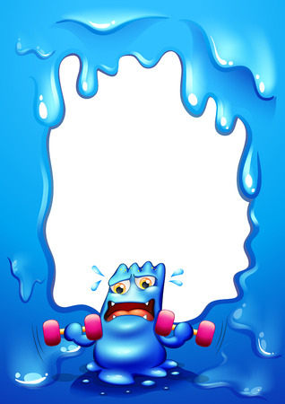 Illustration of a border design with a blue monster exercising Vector