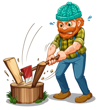 timber cutting: Illustration of a tired lumberjack on a white background