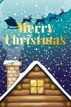 Illustration of a christmas card with a wooden rooftop and a sleigh with reindeers Vector
