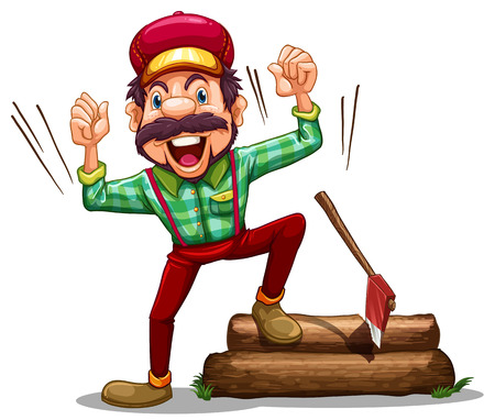 ax: Illustration of a happy lumberjack on a white background