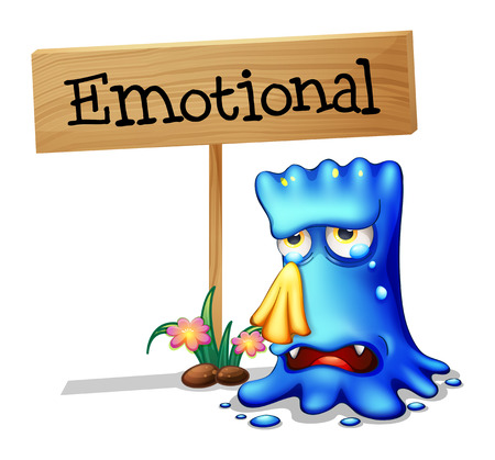 sides: Illustration of a very emotional monster near a signboard on a white background