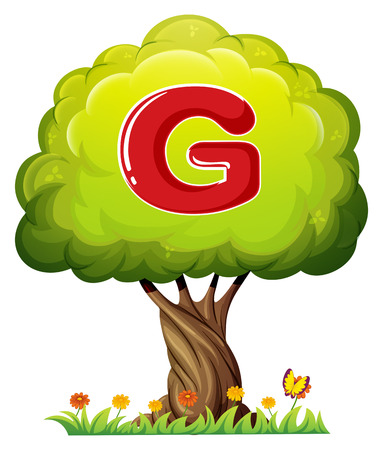 Illustration of a tree with a letter G on a white background Vector