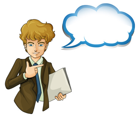 formal attire: Illustration of a boy holding a binder with an empty callout on a white background Illustration