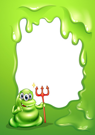 Illustration of a green monster holding a death fork Vector