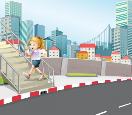 concrete stairs: Illustration of a girl exercising outdoor