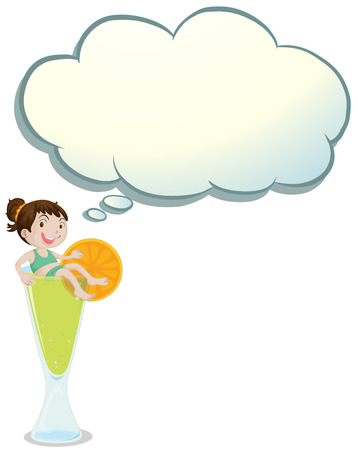 quencher: Illustration of a young child above a glass with an empty callout on a white background