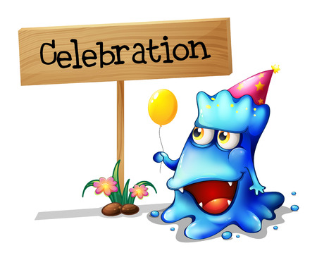 Illustration of a blue monster celebrating near a wooden signage on a white background Vector