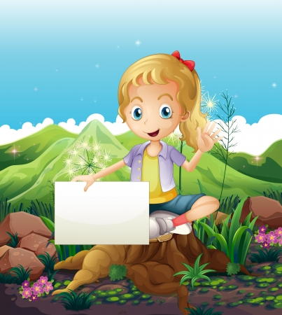 noontime: Illustration of a stump with a smiling girl holding an empty signage Illustration