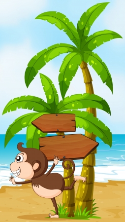 Illustration of a beach with a playful monkey near the wooden arrowboards Vector