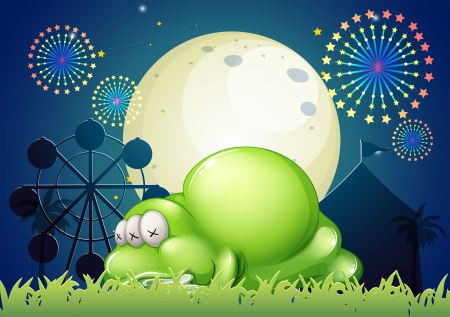 Illustration of a monster sleeping at the carnival Vector