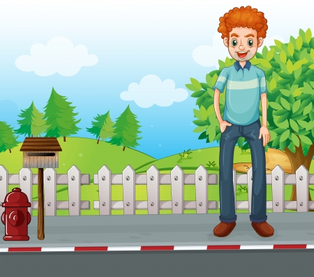 sky and grass: Illustration of a smiling man standing near the wooden mailbox