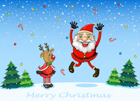 Illustration of a happy Santa with a reindeer Vector