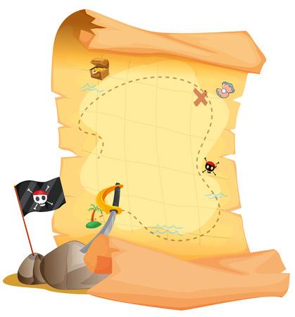 drapeau pirate: Illustration d'une carte au tr�sor � c�t� du drapeau et l'�p�e sur un fond blanc