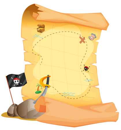 isla del tesoro: Ilustraci�n de un mapa del tesoro junto a la bandera y la espada sobre un fondo blanco