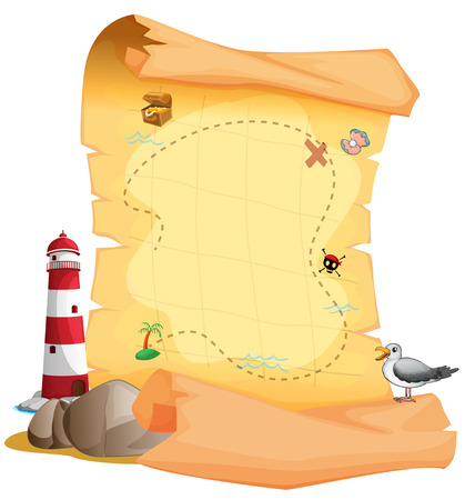 Illustration of a treasure map near the lighthouse on a white background Illustration