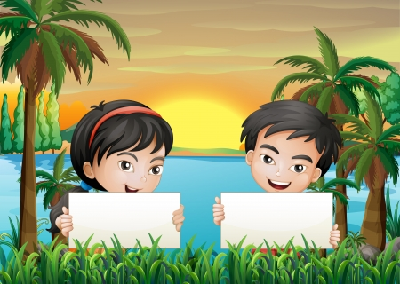 riverbank: Illustration of the two smiling kids at the riverbank holding two empty signboards Illustration