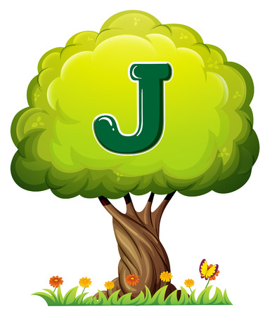 Illustration of a tree with a letter J on a white background Vector