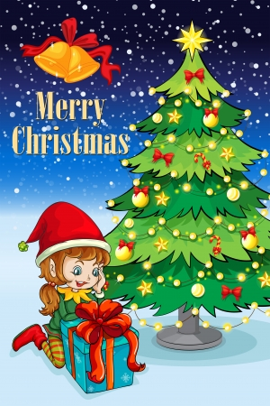 Illustration of an elf watching the gift near the tall christmas tree Vector