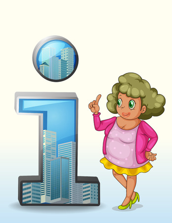 one on one meeting: Illustration of a woman beside a number one symbol with buildings on a white background