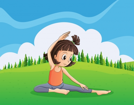 hilltop: Illustration of a young girl doing yoga at the hilltop